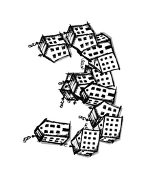 Number three made from houses alphabet vector image