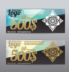 Voucher template modern pattern thai polygon backg vector