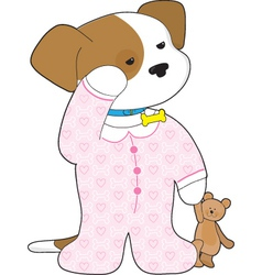 Cute puppy pajamas vector