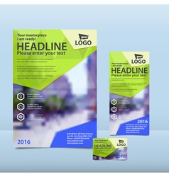 Yellow brochure flyer and card design vector
