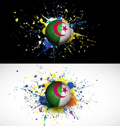 Algeria flag with soccer ball dash on colorful vector image