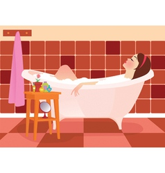 Beautiful girl taking a bath vector