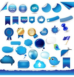 Big Set From Objects Of Blue Color vector image