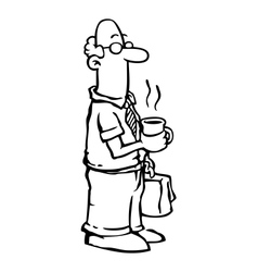 Business man employee having coffee vector image