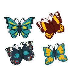 butterflies colorful flat isolated icons vector image vector image