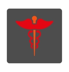 Caduceus Rounded Square Button vector image