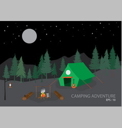Campsite with camping tent outdoor tourism scene vector