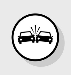 Crashed cars sign flat black icon in vector
