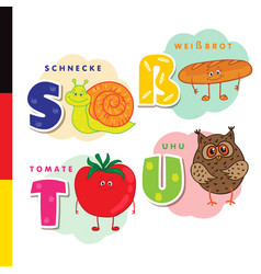 deutsch alphabet snail white bread tomato owl vector image vector image
