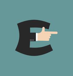 E letter businessman hand font it shows finger vector