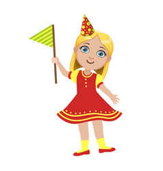 girl in red dress with flag part of kids at the vector image