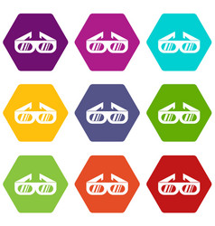 glasses for 3d movie icon set color hexahedron vector image