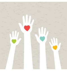 Hands with hearts vector image