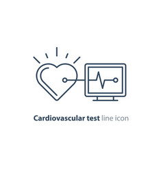 heart test line icon electrocardiogram monitor vector image vector image