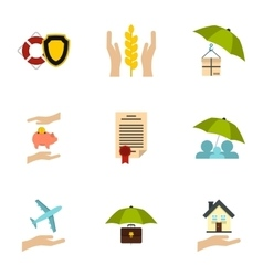 Keeping icons set flat style vector