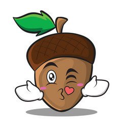 kissing heart acorn cartoon character style vector image vector image