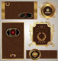 Leather banner set vector image vector image