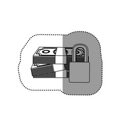 monochrome contour sticker of stacked bills with vector image