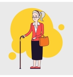 Old stylish woman using cane senior lady with vector