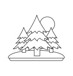pine trees forest with sun and grass icon image vector image
