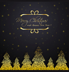 shiny golden winter trees vector image
