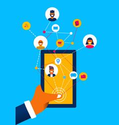 Social media mobile phone app internet connection vector