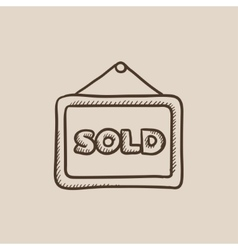 Sold placard sketch icon vector image