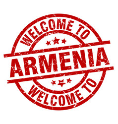 Welcome to armenia red stamp vector