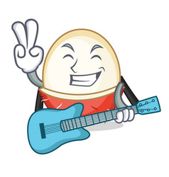 With guitar rambutan mascot cartoon style vector