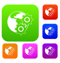 world planet and gears set color collection vector image vector image