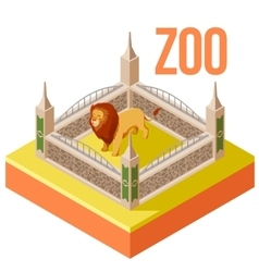 Zoo Lion isometric icon vector image