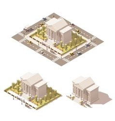 Isometric low poly museum building icon vector