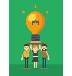 Group of business people holding lightbulb vector