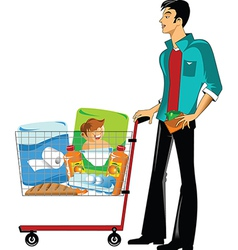 Customer in a supermarket vector image