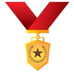 Isolated golden medal vector image