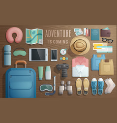 Travel accessories prepared for the trip on vector