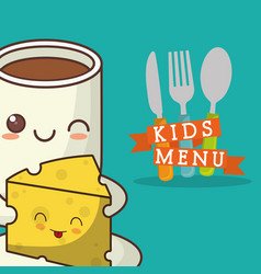kids menu cheese chocolate cuttlery vector image