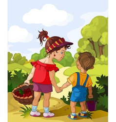 Children walking in the forest vector