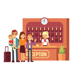 hotel reservation concept with young happy vector image