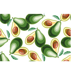 Seamless background with avocado fruit vector