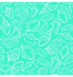 Seamless pattern with cute seashells vector