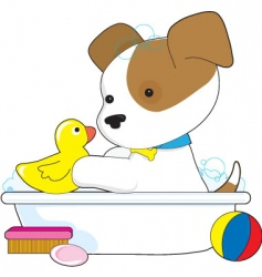 Cute puppy bath vector
