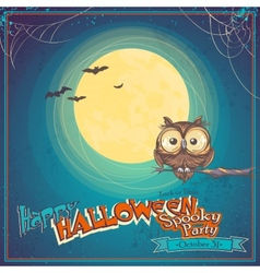 Greeting card halloween with owl on background of vector