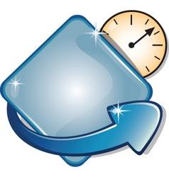 arrow banner diamond clock vector image