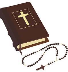 Bible and rosary vector