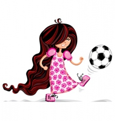 Little girl playing soccer vector