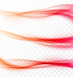 Abstract smooth red swoosh web wave set vector image