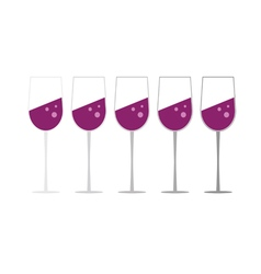 Glass of wine set vector