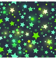 Seamless with shiny green stars vector
