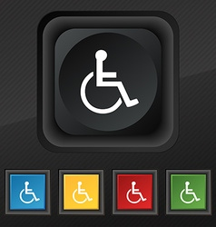 Disabled icon symbol set of five colorful stylish vector